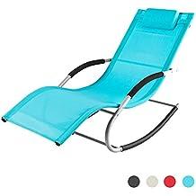 SoBuy® 2x OGS28-HB Lot de 2 Fauteuils à bascule Transats de jardin avec repose-pieds, Bains de soleil Rocking Chair - Turquoise