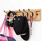 Schiefhaltige Wandverkleidung rackt/Schlüsselhaken-Wandregal mit Haken, 5 Bambushaken, hochwertigen Bambusprodukten, Bad-WC-Haken,woodcolor