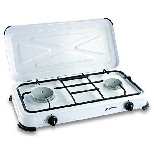 Plaque de cuisson gaz portable 2 feux - 2600 w - blanc laqué
