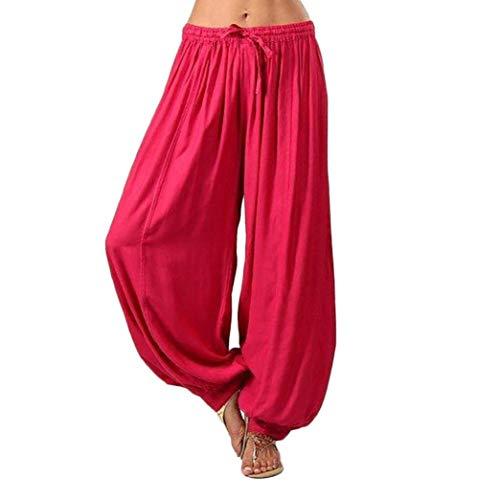 Rote Mädchen-caprihosen (Leinenhosen Damen Huihong Frauen Casual Pumphose Haremhosen Yogahosen Aladin Hosen Strandhosen (Rot, XL))