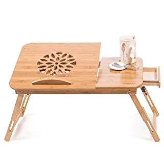 Ajusen Lapdesks 100% Natural Bamboo Laptop Desk Table Breakfast Serving Bed Tray with Tilting Lockable Legs Top Drawer