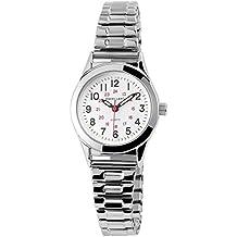 Excellanc Damen Analog Armbanduhr mit Quarzwerk 170022000021 und Metallgehäuse mit Silberfarbigem Metallzugband Ziffernblattfarbe Weiß Armbandbreite 14 mm