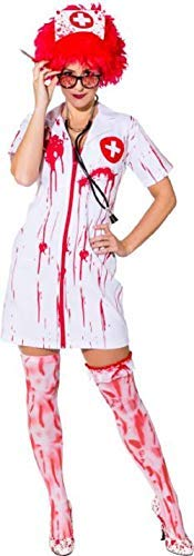 Zombie Kostüm Killer Womens - Ladies Killer Nurse Zombie Uniform Bloody Emergency Services Halloween Horror Fancy Dress Costume Outfit (UK 8-10 (EU 36/38))