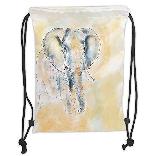 Fashion Printed Drawstring Backpacks Bags,Elephant,Elephant Watercolor Style Illustration Wild Creature Safari Exotic Wildlife Home Decor Decorative,Cream Grey Soft Satin,5 Liter Capacity,Adjustab - Safari Room Decor