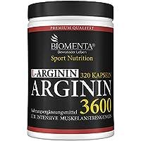 Preisvergleich für BIOMENTA L-ARGININ 3600 | 320 Arginin Kapseln hochdosiert: HÖCHSTE ARGININ MENGE im GRUNDPREIS-LEISTUNGS-VERGLEICH...