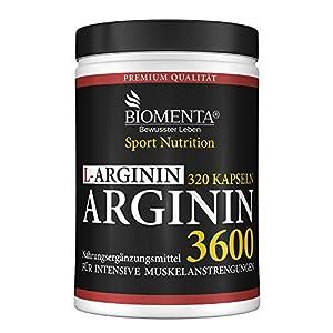 BIOMENTA L-Arginin 3600 – Aktionspreis – 320 L-Arginin Kapseln hochdosiert – 3.652 mg Arginin Aminosäure pro Tag – reines L-Arginin ohne Magnesiumstearat