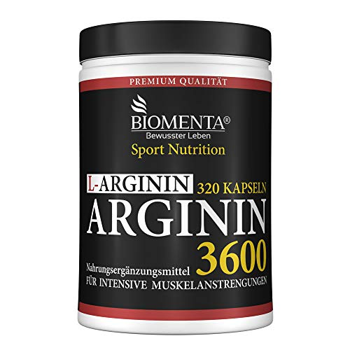 BIOMENTA L-ARGININ 3600 | AKTIONSPREIS!!! | 320 Arginin Kapseln hochdosiert: HÖCHSTE ARGININ MENGE im GRUNDPREIS-LEISTUNGS-VERGLEICH | REINES ARGININ HOCHDOSIERT ohne Magnesiumstearat | 3.652 mg Arginin Aminosäure / Tag