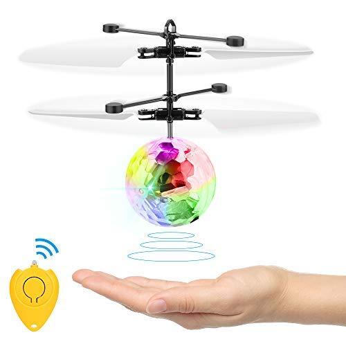 Jooheli RC Fliegender Ball, Infrarot-Induktions Fliegender Ball Fliegendes Spielzeug Kinder Spielzeug, Drohne RC Flugzeug Ball Mit Bunt Leuchtendem LED-Licht Und Fernbedienung Für Jungen Und Mädchen