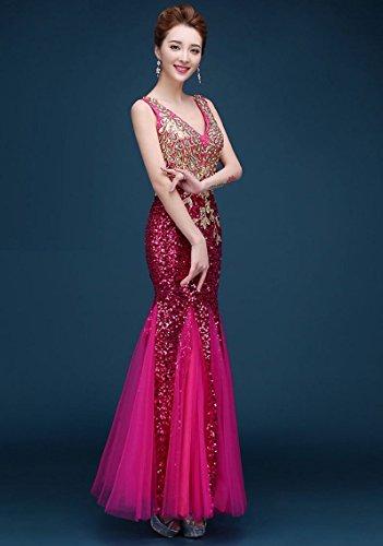 Beauty-Emily Applikationen Pailletten V-Ausschnitt Nixe Ohne Arm Abendkleid Dunkel Violett