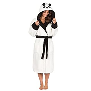 Ladies Panda Penguin Snuggle Fleece Hooded Bath Robe Dressing Gown, Made With 100% Fleece Polyester, Panda - Cream | Size: L (16-18)