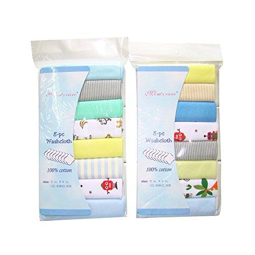 Lot de 8 Gants de Toilette en mousseline de naissance d'allaitement en coton doux Serviettes