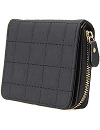 SKUDGEAR Women's PU Leather Bi-Fold Short Wallets Small Plaid Purses