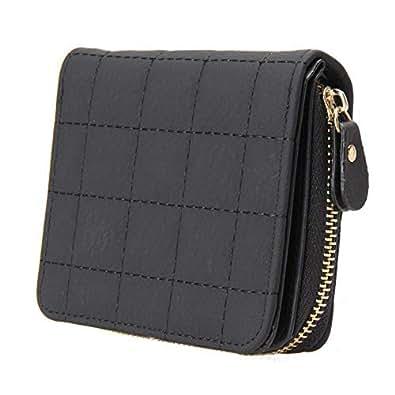 SKUDGEAR Women's PU Leather Bi-Fold Short Wallet Small Plaid Purses (Black)