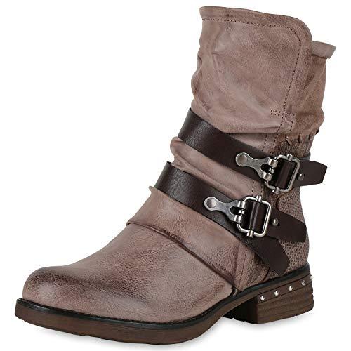 SCARPE VITA Leicht Gefütterte Damen Stiefel Biker Boots Schnallen Stiefeletten 150242 Khaki Nieten 42