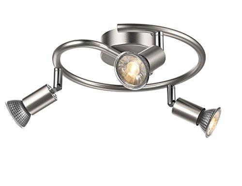 Uchrolls Foco LED para techo I Lámpara de techo con focos redondos I lamparas de techo led I Luz de techo I Plafon I Lámpara de salón giratoria I incluye 3 x 5 W bombillas LED GU10