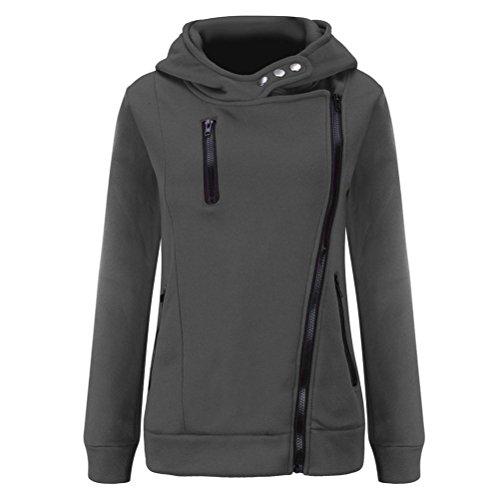 Manteaux Hiver Femme Kolylong Grande Taille Veste à capuche Manteau long Fermeture éclair Sweatshirt Casual Chemisiers Outwear Sport Gris foncé