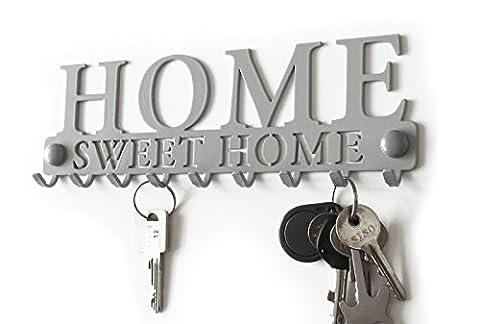 Râtelier à Clé Cintre Portemanteau Blanc Noir Patère Crochet Déco Murale Métal Tableau des Clés Crochets Porte Acier Organisateur Hanger Keys Key