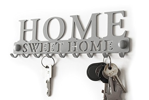 M-KeyCases Kleiderablage Kleiderständer Home Sweet Home Garderobe Hakenleiste Schwarz Schlüsselbrett Wohnaccessoires Veranda Holz Metall Wandgarderobe Deko