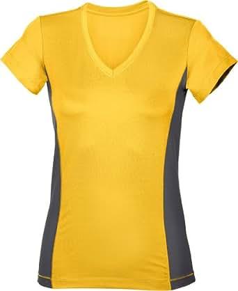 Hanes Damen kontrastfarbenes Funktionsshirt mit V-Ausschnitt 7860 Sunflower Yellow S