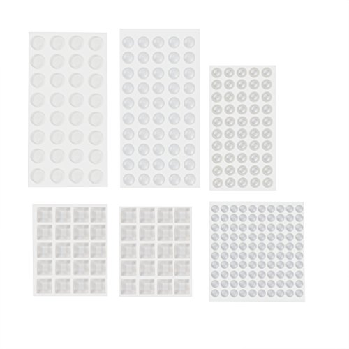 Uarter Clear Silicone Feet Bumpers Self-adhesive Cabinet Door Dampening Pads Non-slip Chair Legs Pad in 5 Specifications, Set of 272, Transparent