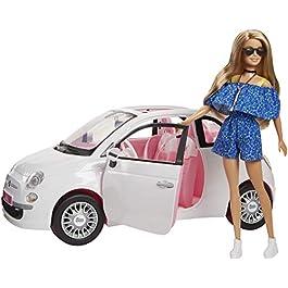 Barbie FVR07 Bambola con Fiat 500, Macchina con Dettagli Realistici, Portiere Apribili