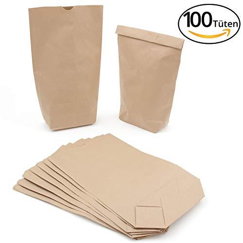 Piccoli sacchetti di carta kraft, colore marrone, 14 x 22 cm, per calendario dell'avvento, matrimonio, compleanno, natur braun, 14 x 22 cm