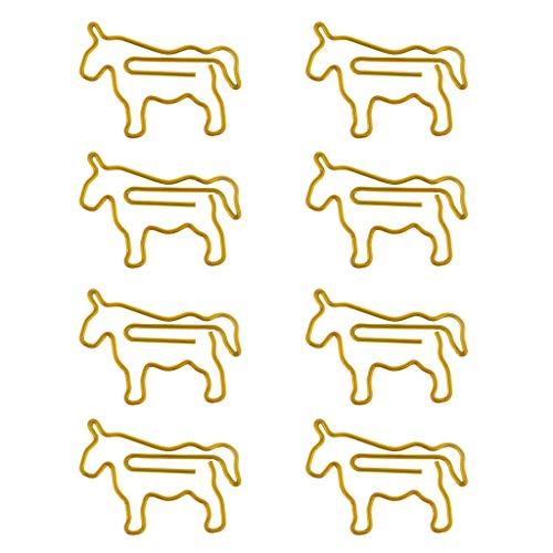 Fenteer 8 pcs Gold Metall Pferd Form Briefklammern DekoKlammern Heftklammern Büroklammern für Schule Büro