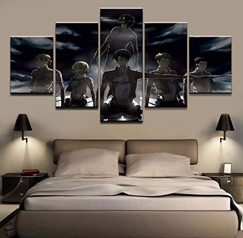 Leinwand Poster Wandkunst HD druckt abstrakte Bilder 5 Stücke Anime Angriff auf Titan Rolle Gemälde Wohnzimmer Dekor Rahmen,A,30×40×2+30×60×2+30×80×1