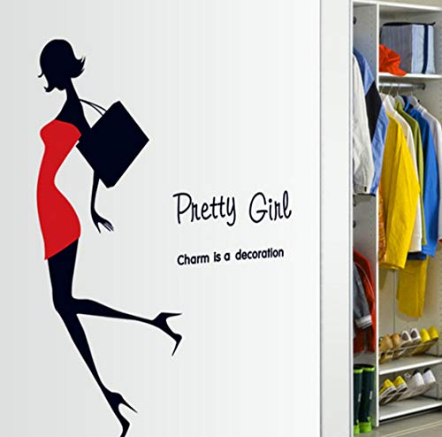 Modern pretty girl red dress black bag wall decals bedroom store cloakroom home decor diy wall stickers pvc mural art