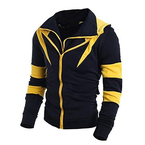 Men Jackets Longra® Men Double Layer Zipper Hooded Color Cloth Splice Sweatshirt Jacket SPORT CONVENIENCE (Yellow, XL)