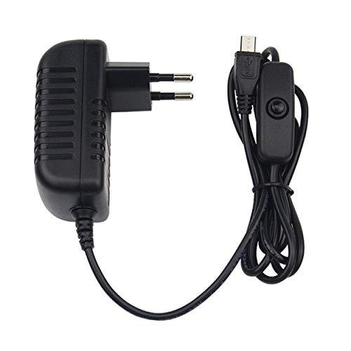 Losenlli 5V 3A Fuente de alimentación Cargador Adaptador de CA Cable Micro USB con Interruptor de Encendido y Apagado para Raspberry Pi 3 pi Pro Modelo B B + Plus