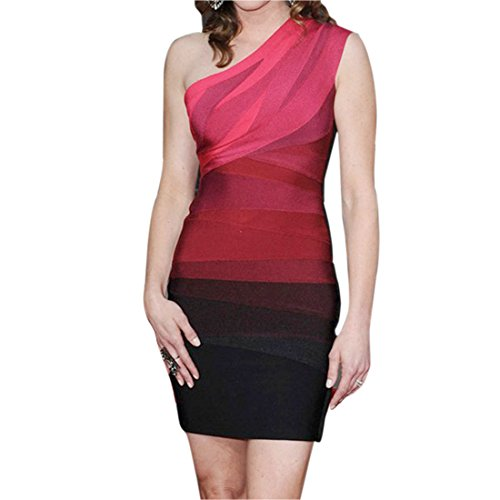 Europe Frauen Eine Schulter aermellose Bodycon Slim Wrap Partei Cocktailkleid Sl Roter Farbverlauf red