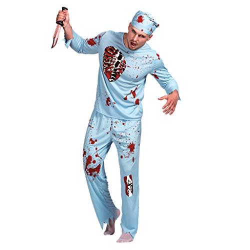 TINGSHOP Zombie Chirurg Kostüm, Erwachsener Mann Walking Dead Doctor Kostüm Gory Blood Splattered Kostüm Maskerade Cosplay Party Performance Kleidung Haunted House - Walking Dead Kostüm Männer