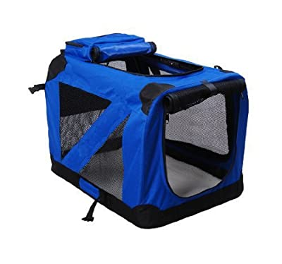 BUNNY BUSINESS Folding Fabric Dog Crate Pet Carrier with Fleece, Small, 20-Inch, Blue