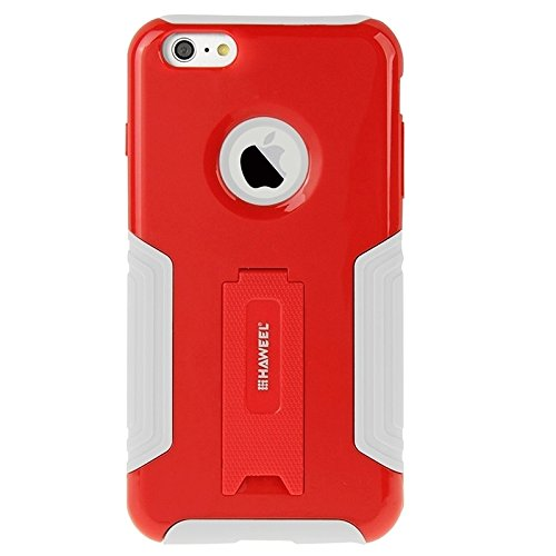 Protection & Fashion HAWEEL Dual Layer plastica TPU Combo Case Con Cavalletto Per Iphone 6 Plus rosso
