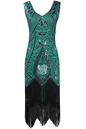 Damen Retro 20er Jahre Stil Flapper Kleider mit Fransen V Ausschnitt Gatsby Motto Party Kleider Damen Kostüm Kleid (Dunkelgrün, XL (Fits 86-92 cm Waist & 100-103 cm Hips)) (Flapper Stil Kleid)