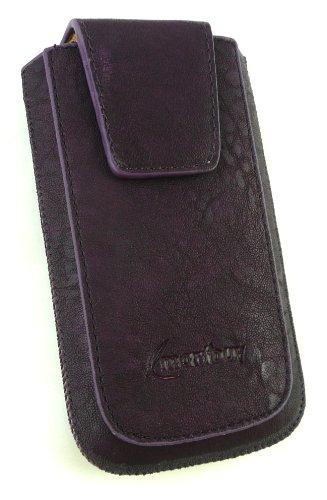 Emartbuy® Klassischer Serie Faux Suede Leopard Rosa Tasche Hülle Schutzhülle Case Cover (Größe Xl) mit Ausziehhilfe geeignet für Apple Iphone 3G / 3Gs Lila Hülle