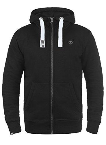 SOLID Benn High-Neck Herren Sweatjacke Kapuzen-Jacke Zip-Hoodie aus hochwertiger Baumwollmischung Meliert, Größe:3XL, Farbe:Black (9000)