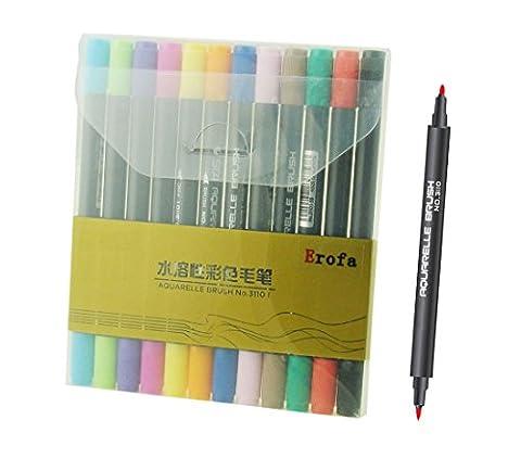 Erofa Dual Brush Pen Marqueurs Art Pour Adulte Livres à Colorier Art et de l'artisanat, 12 pièces