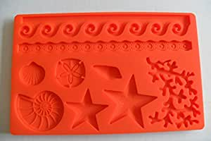 Under the Sea Silicone Embossing Mold Sea LIfe Ocean Wave Gum Paste Fondant Cake Lace Decorating Sugar Craft Mat by Daily Proposal