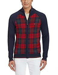 LP Louis Philippe Mens Cotton Sweater (8907545560407_LYSW516S18206_Medium_Dark Blue With Red )