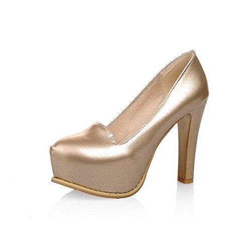 AgooLar Damen Pu Leder Ziehen Auf Rund Zehe Hoher Absatz Pumps Schuhe Golden