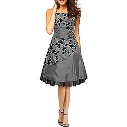 BlackButterfly 'SIA' Vestido De Gala De Satén Essence (Plata, ES 44 - XL)