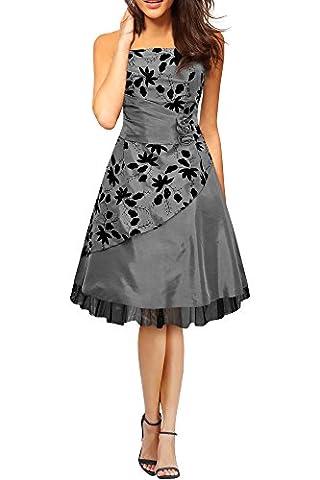 Black Butterfly Robe De Bal Satin Essence 'Sia' (Argent, FR 48 - 3XL)