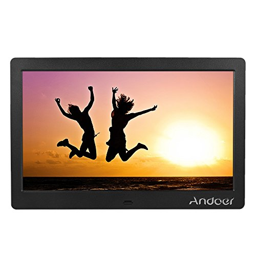 Andoer - Marco de fotos digital con pantalla LCD (10 pulgadas) de alta resolución (1 024 × 600), funciones reloj y vídeo MP3/ MP4, mando a distancia, tarjeta de memoria 8 GB (clase 10), lector de tarjetas y adaptador