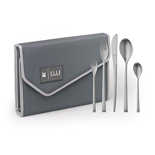 WMF Elle Deco Besteckset, 30-teilig, für 6 Personen, Monobloc-Messer, mit Clutch-Aufbewahrung, Cromargan protect