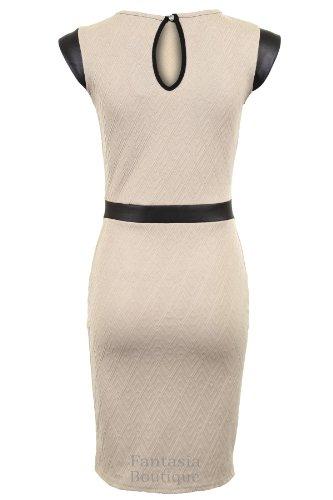 Fantasia - Damen Gestepptes Strukturiertes Bodycon Kurzes Kleid PVC Stoffstreifen Dehnbar Stein