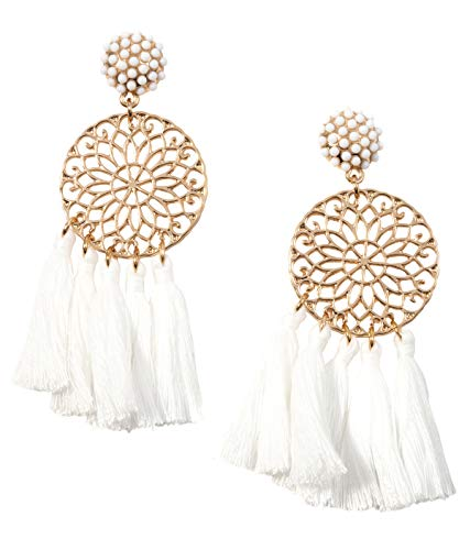 Happiness Boutique Damen Statement Ohrringe mit Quasten in Weiß   Quastenohrringe Mandala Design in Goldfarbe