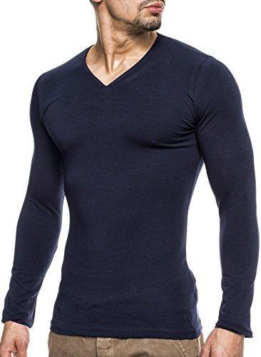 WILUSA Herren Longsleeve V-Ausschnitt 100% Baumwolle Dunkel Blau