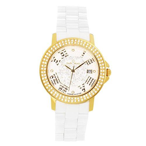 Stella Maris Damen-Armbanduhr Analog Quarz Premium Keramik Diamanten - STM15P5